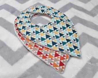 set of two geometric fabric bandanas, Scandinavian triangles cotton and Terry bibs