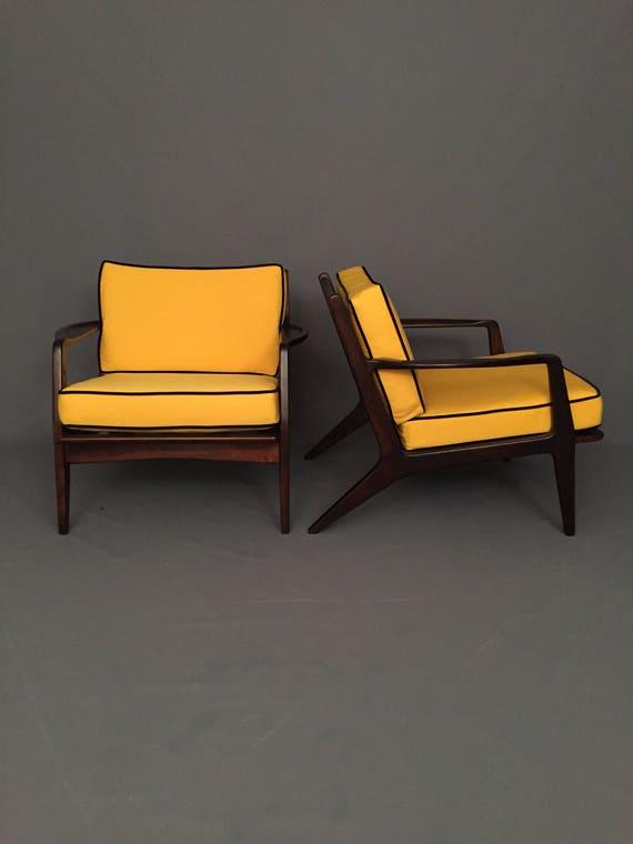 Mid-Century pair walnut Danish arm chairs with new yellow cushions