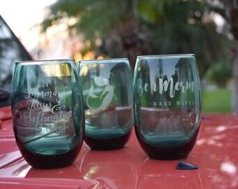 Stemless Mermaid Wine Glasses (Set of 3), Stemless Mermaid Water Glass(Set of 3), Teal Mermaid Wine Glass(Set of 3)