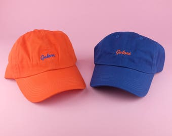 2 GATORS Hat - Blue Orange Embroidered Dad Hat - University Of Florida -  Polo Hat - Curved Brim Six Panel Fabric Strap Hat - Brand New