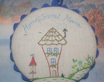 "Mini embroidered Panel ""Home sweet home"""