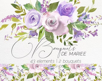 Pale Purple Pink Champagne Floral Clipart Ivory Violet Peonies Roses Watercolor Flowers Bouquets  Green Leaves Clip Art Wedding Invitation