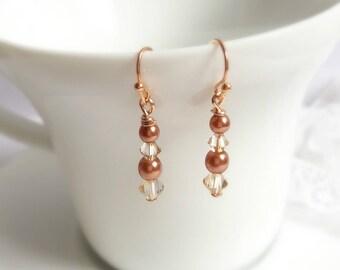 Copper earrings, pearl and crystal earrings, bridal earrings, bridal jewelry, wedding accessories, bridesmaid earrings, bridal jewellery