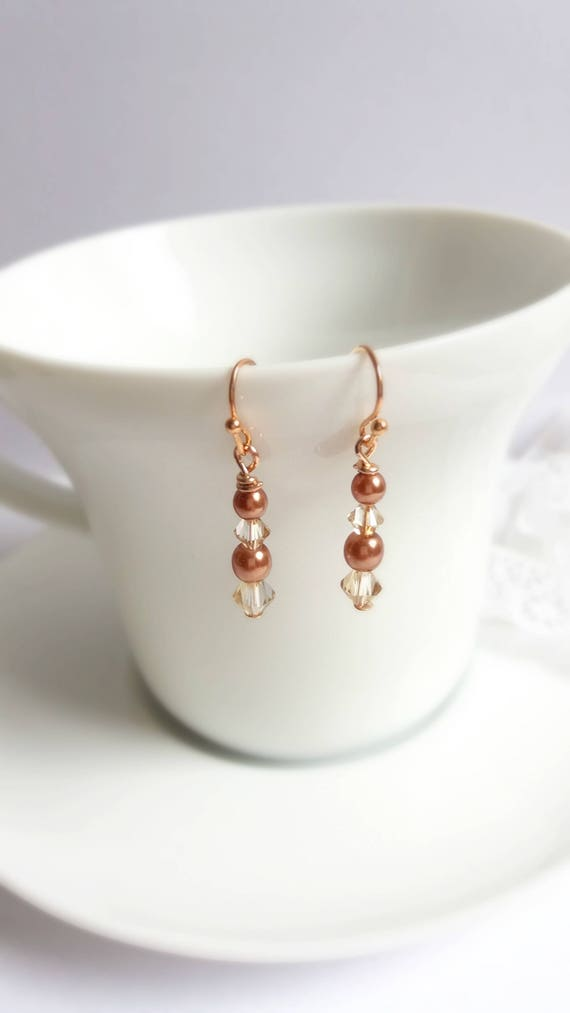 Copper Pearl and Crystal Drop Earrings