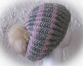 """Pretty """"tam"""" wool gray and white and pink stripes with tassel"""