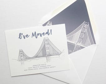 City Moving Announcements - San Francisco Skyline - Golden Gate Bridge Grey Outline