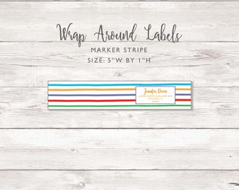 Wraparound Mailing Address Label - Marker Stripe - Perfect for Rodan and Fields Consultants - Label / Sticker - Marker Stripe