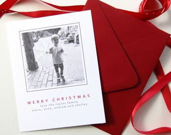 Photo Christmas Card - Vintage Photo Card - Black and White - Unique Holiday Card - Custom Printed Christmas Flat cards with envelopes