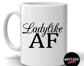 Ladylike, Funny Mugs, Ceramic Printed Both Sides Comes In Gift Box, Funny Gifts, Novelty Mugs