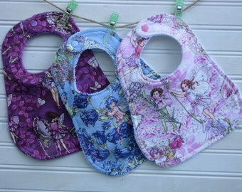 Baby Girl Bibs - Fairy Frost Fairies and Terry Baby Bib - Baby Girl Bib Set of 3 Bibs in Purple Blue and Pink