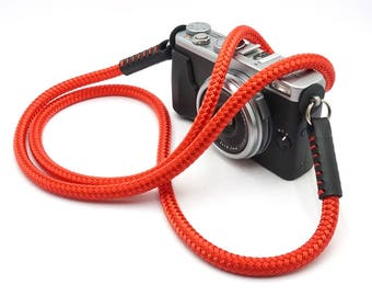 Handmade Silky Red Braided Cord / Rope & Leather Camera Neck Strap