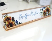 "Custom Sunflower Name Plate ""Bridget"" - Personalized Desk Name Plate Sign Decor - Office Accessories - Modern Office Supplies"