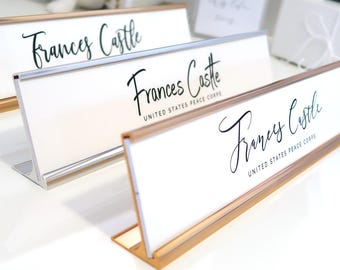 """Custom Minimalist Nameplate """"Frances"""" - Personalized Desk Name Plate Sign Decor - Office Accessories - Modern Office Supplies"""