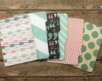 POCKET Dashboard & Dividers - Double sided - for Filofax, Franklin Covey, Kate Spade, Kikki K, Day Planner, etc