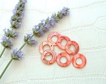 Set of 5 circular shell beads 20mm genuine red