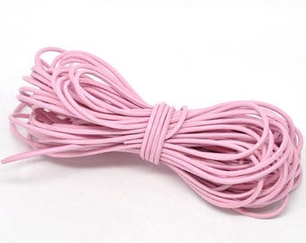 SOFT pink 2mm round leather cord 1 m