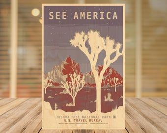 Joshua Tree Vintage Travel Poster Art Postcard