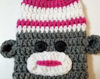 Pink Sock Monkey = Cast Cozy/Cast Sock/Toe Cover = Ready to ship.