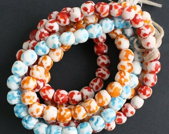 African Krobo Beads African Ghana Refashioned Glass Tangeriine and White 10 mm Unusual 15-Pack for Jewelry and Crafts,
