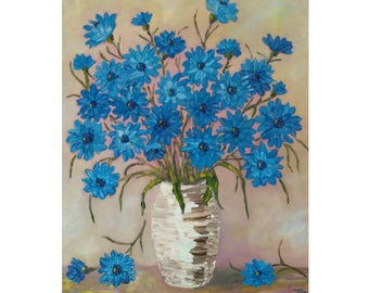 "Blue Cornflowers in a Vase  Original oil impasto painting white yellow  flowers on STRETCHED CANVAS  size 16"" X 20""  No.04-58 ready to hang"