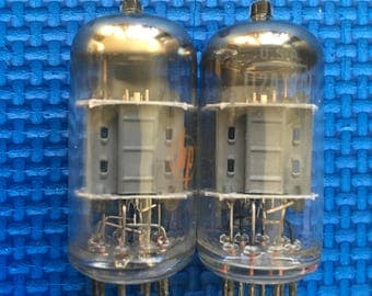 Matched Pair RCA Short Plate 12MM O-Getter 12AX7 / ECC83 Tubes