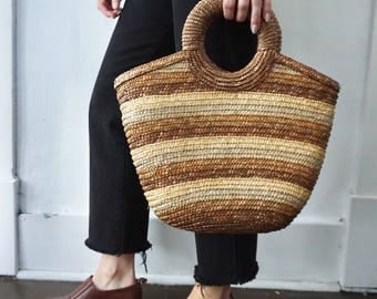 wicker woven purse / beach bag