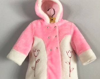 Fuzzy Vintage 1950's Bubblegum Pink and White Double Breasted Peacoat with Tulip Design Size 24mo - OSVKCxxx