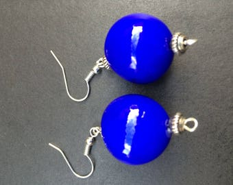 BLUE POLYMER CLAY DANGLE EARRINGS