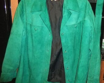 1970s soft suede emerald green jacket sz 16/18
