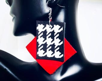 Red and Black Houndstooth Design Leather Statement Earrings