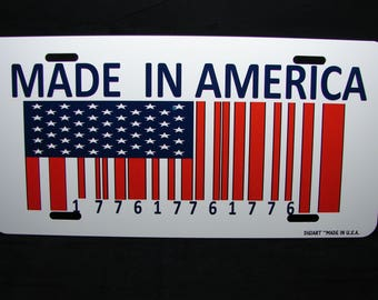AMERICAN FLAG Made in America Metal License Plate Tag For Cars Stars And Stripes  USA Flag Bar Code Format