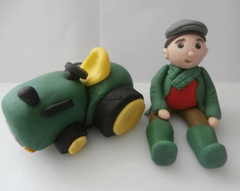Edible tractor and farmer, cake topper,decoration,birthday,retirement,sugarpaste