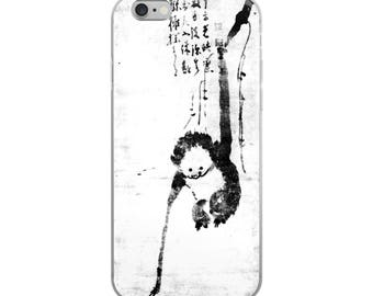 Funny Japanese monkey iPhone case with humorous Asian woodblock print