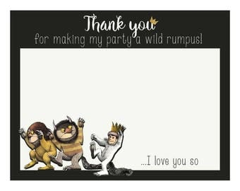 Where the Wild Things Are Thank You Card - 5in x 4in - Thank you for making my party a Wild Rumpus- Printable Thank You - INSTANT DOWNLOAD