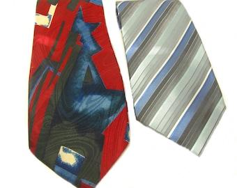 Vintage Men's Silk Tie & Polyester Necktie, Set of 2