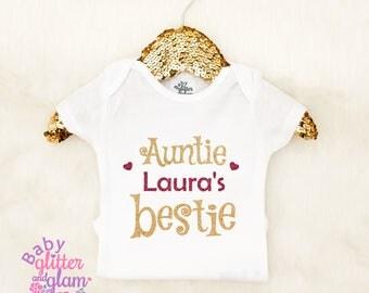 Auntie Bestie, My Aunt Loves Me, I love My Aunt, Baby Girl Aunt Shirt, Auntie Shirt, Baby shower Gift Girl, Aunt is my Bestie, Aunt BFF