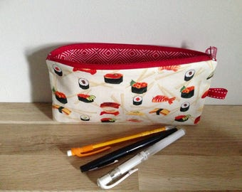 Pencil case / pouch cotton school, sushi, red and cream.