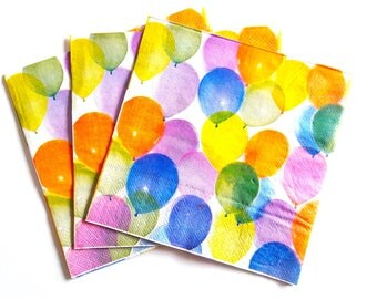 Decoupage Napkins - Watercolour Balloons Design x 4 - paper craft