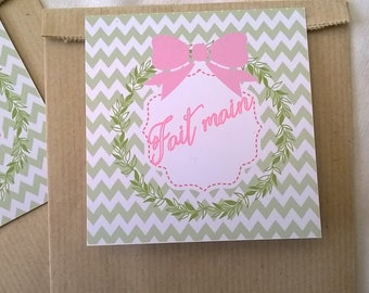 "Two sachets ""Handmade"" gift tags, pink and green"
