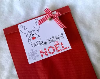 Christmas gift bag, red, reindeer bow gingham Bell 25 X 16 cm