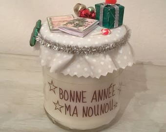 New year nanny or centerpiece, personalized candle. Phrase choice + name