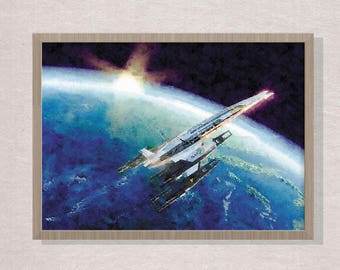 Watercolor poster art, Mass Effect poster, N7 poster,  home decor