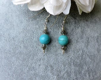 Turquoise Bead Earrings with Sterling Silver Ear Wires
