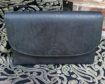 Black Leather Wallet Clutch Bag with Shoulder Strap