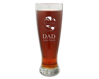 Personalized Beer Glass for Dad - Customized World's Best Dad Pilsner Glass - Tall Beer Glass - Gift for Him - Father's Day Gift Idea