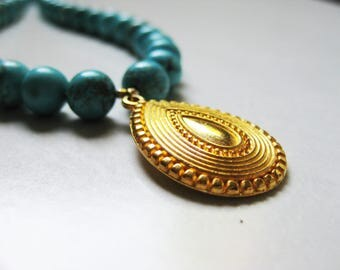 Turquoise BOHEMIAN necklace - gold-plated