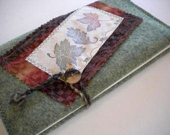 """Handcrafted Wool Felt Journal / Sketchbook, 5"""" x 8"""", refillable, reusable - ENCHANTED FOREST - Pay it forward, PIF"""