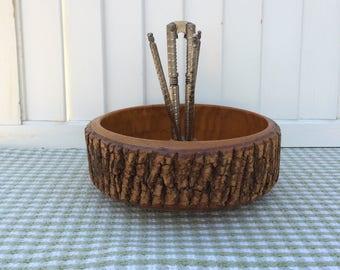 Wood Bark Nut Bowl