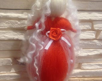 Orange and white felted doll, needle felted fairy without wings, Needle felted Christmas ornament, felted doll, Waldorf inspired fairy