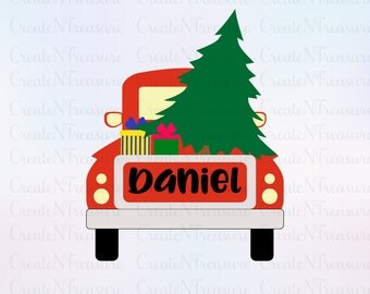 Christmas Truck svg, Christmas Tree svg, Vintage red truck svg.  Cutting file for Silhouette and Cricut.  Xmas Monogram SVG, DXF, PNG.
